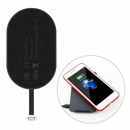 Microfiber Wireless Charging Receiver přijímač QI indukční vložka s konektorem Lightning černá