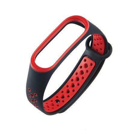 Náhradní silikonový pásek pro Xiaomi Mi Band 4 / Mi Band 3 Dots černo-červený
