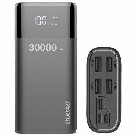 Power banka 4x USB 30000mAh s displejem LCD 4A černá (K8Max black)