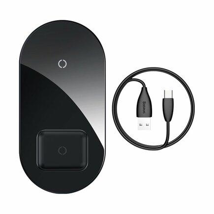 Simple 2v1 bezdrátová nabíječka Qi pro telefon i sluchátka AirPods 18W černá (WXJK-01)