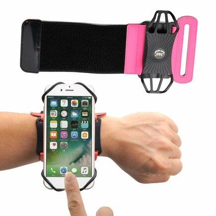 Sportovní běžecký pásek / armband na zápěstí pro telefon do 6'' palců růžový