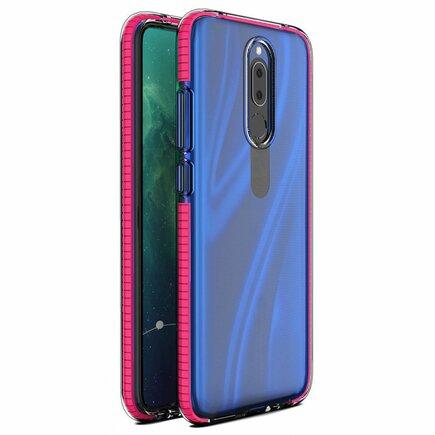Spring Case gelové pouzdro s barevným rámem Huawei Mate 20 Lite tmavě růžové