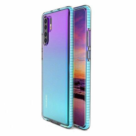 Spring Case gelové pouzdro s barevným rámem Huawei P30 Pro světle modré