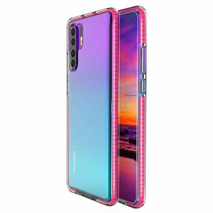 Spring Case gelové pouzdro s barevným rámem Huawei P30 Pro tmavě růžové