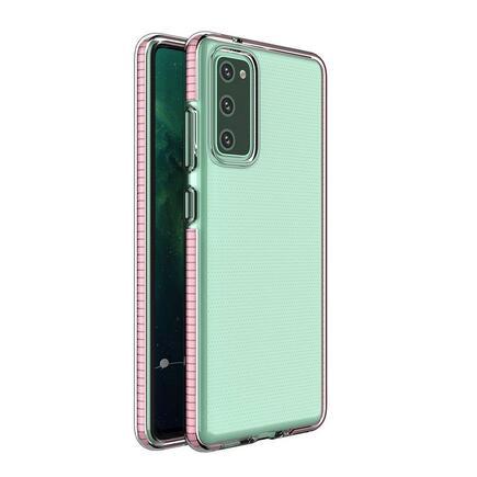 Spring Case gelové pouzdro s barevným rámem Samsung Galaxy S21 Ultra 5G růžové