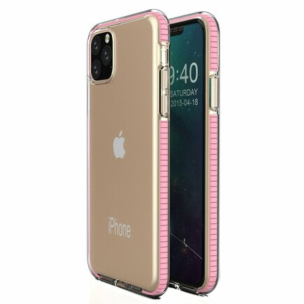 Spring Case gelové pouzdro s barevným rámem iPhone 11 Pro Max světle růžové
