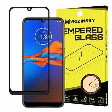 Super odolné tvrzené sklo Full Glue na celý displej s rámem Case Friendly Motorola Moto E6 Plus průsvitné