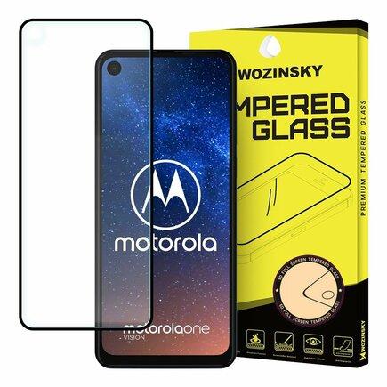 Super odolné tvrzené sklo Full Glue na celý displej s rámem Case Friendly Motorola One Action / Motorola One Vision černé