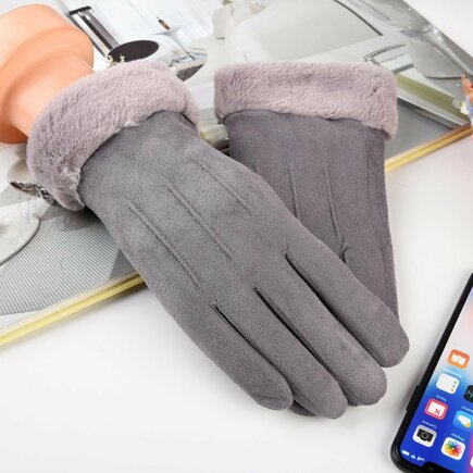 Univerzální zimní rukavice pro dotykové displeje šedé
