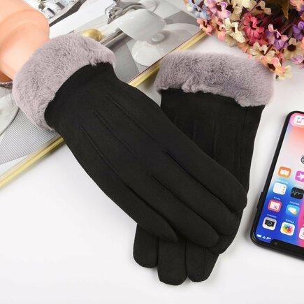 Univerzální zimní rukavice pro dotykové displeje bílo-černé