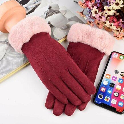 Univerzální zimní rukavice pro dotykové displeje růžové