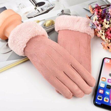 Univerzální zimní rukavice pro dotykové displeje světle růžové