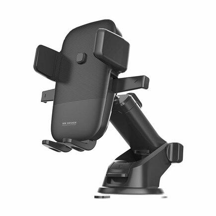 WK Design bezdrátová nabíječka Qi držák do auta s regulovatelným ramenem na sklo nebo palubní desku černý (WP-U48 black)