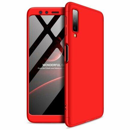 360 Protection pouzdro na přední i zadní část telefonu Samsung Galaxy A7 2018 A750 červené