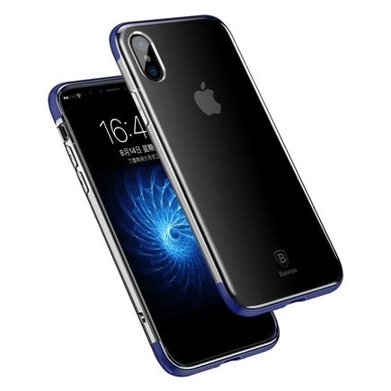 Armor Case průsvitné pouzdro se zesíleným rámem iPhone X modré