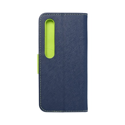 Pouzdro Fancy Book Xiaomi Mi 10 Pro tmavě modré/limetkové