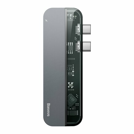 Vícefunkční HUB 2x USB Typ C na USB Typ C PD (60W in) / USB Typ C (15W out) / HDMI 4K / 2x USB 3.0 pro MacBook Pro šedý (CAHUB-TS0G)