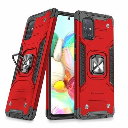 Wozinsky Ring Armor pancéřové hybridní pouzdro + magnetický úchyt Samsung Galaxy A71 5G červené