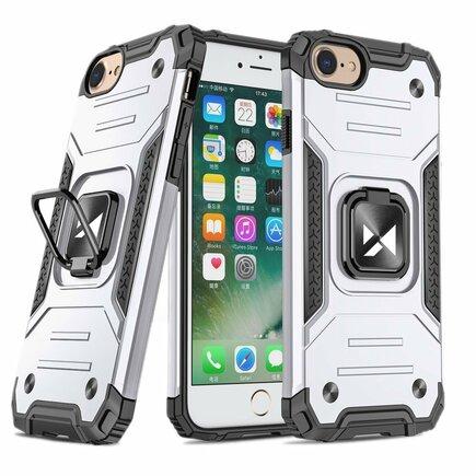 Wozinsky Ring Armor pancéřové hybridní pouzdro + magnetický úchyt iPhone SE 2020 / iPhone 8 / iPhone 7 stříbrné