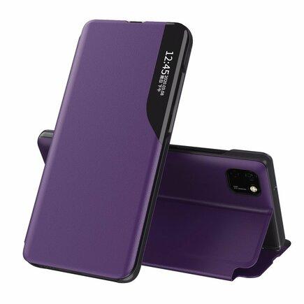 Eco Leather View Case elegantní pouzdro s klapkou a funkcí podstavce Huawei Y5p fialové