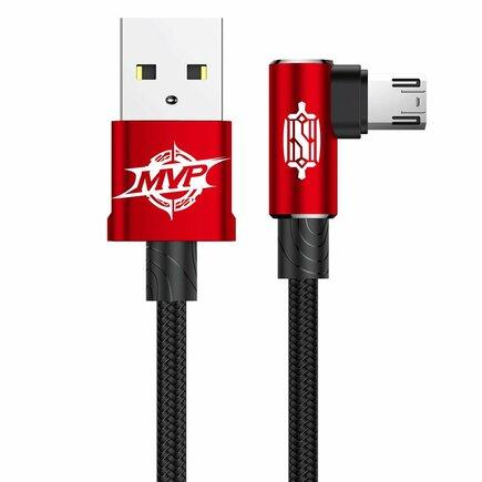MVP Elbow Type Úhlový kabel s boční zástrčkou micro USB 1.5A 2M červený