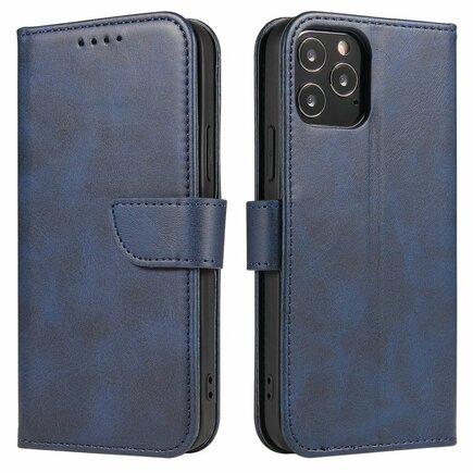 Magnet Case elegantní pouzdro s klapkou a funkcí podstavce iPhone 12 Pro / iPhone 12 modré