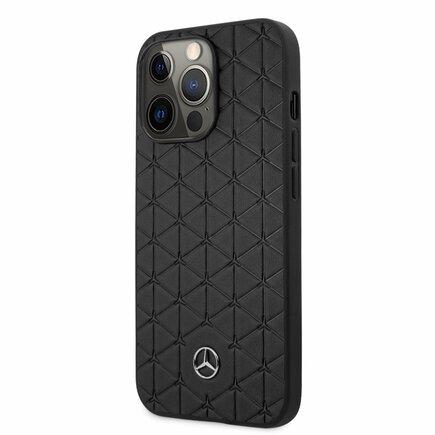 Mercedes Genuine Leather Quilted Kryt pro iPhone 13 Pro černý
