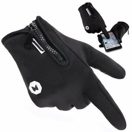 Univerzální sportovní zimní voděodolné rukavice pro dotykové displeje černé (WTG1BK)