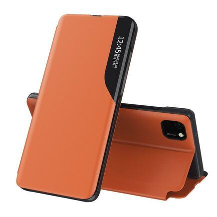 Eco Leather View Case elegantní pouzdro s klapkou a funkcí podstavce Huawei Y6p oranžové