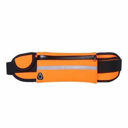 Běžecký opasek na bidon, pouzdro pro telefon s výstupem pro sluchátka oranžový