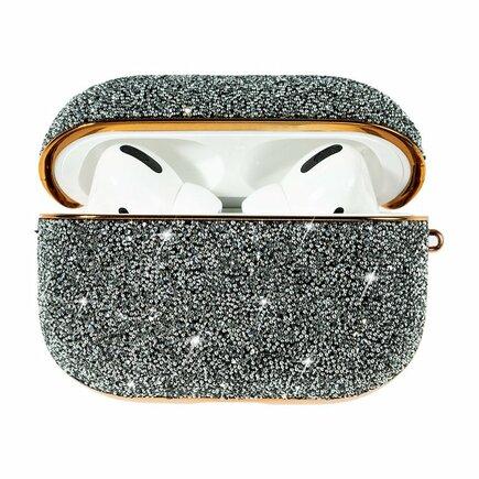Kingxbar Crystal Fabric lesklé brokátové pouzdro pro sluchátka AirPods Pro stříbrné