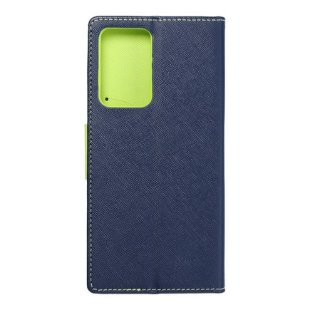 Pouzdro Fancy Book Samsung Note 20 Plus tmavě modré/limetkové