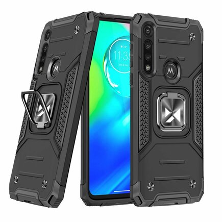 Wozinsky Ring Armor pancéřové hybridní pouzdro + magnetický úchyt Motorola Moto G8 Power černé