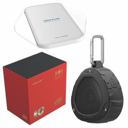 Dárková sada - bezdrátový reproduktor Bluetooth + bezdrátová nabíječka Qi Magic Cube (Fast Charge Edition) černá