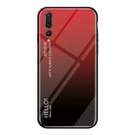 Gradient Glass pouzdro s vrstvou z tvrzeného skla Huawei P20 Pro černo-červené