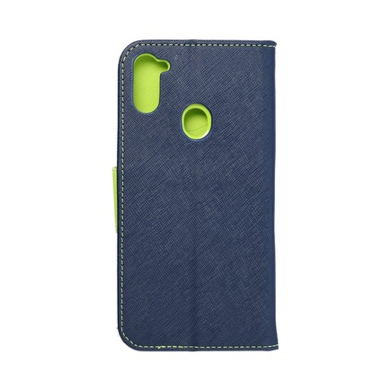 Pouzdro Fancy Book Samsung A11 tmavě modré/limetkové