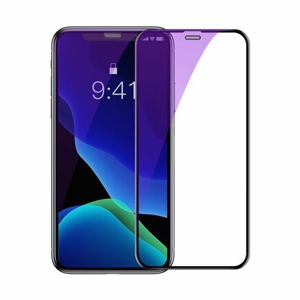 2x sklo na celý displej Full Screen 0;3 mm 9H Anti-bluelight iPhone 11 / iPhone XR + pozicionér černé (SGAPIPH61S-IA01)