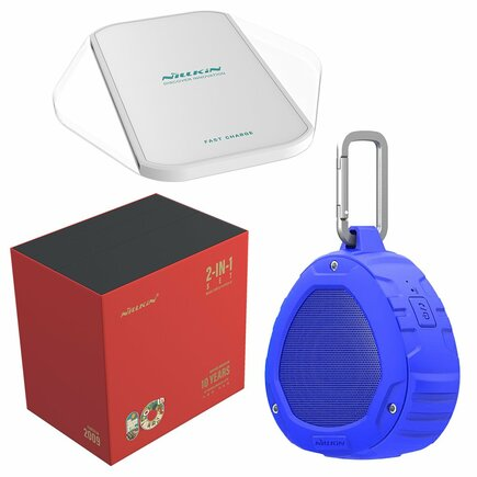 Dárková sada - bezdrátový reproduktor Bluetooth + bezdrátová nabíječka Qi Magic Cube (Fast Charge Edition) modrá