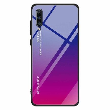 Gradient Glass pouzdro s vrstvou z tvrzeného skla Samsung Galaxy A70 růžově-fialové