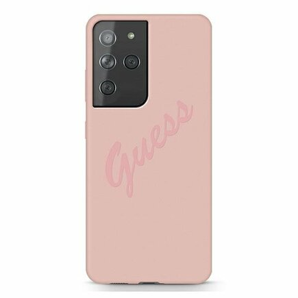 Guess Silicone Vintage Pouzdro pro Samsung Galaxy S21 Ultra růžové