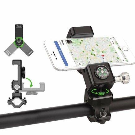 Cyklistický držák na telefon na řídítka se zabudovaným kompasem černý