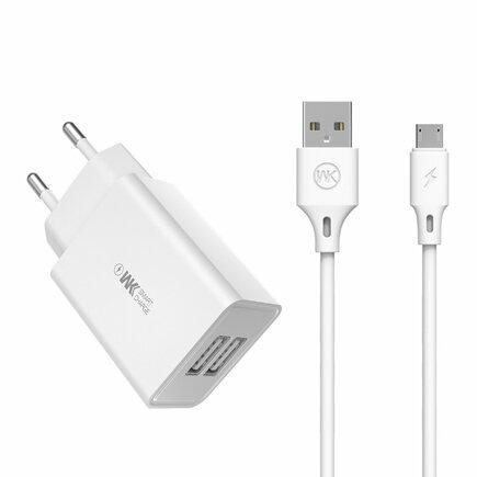 WK Design síťová nabíječka 2x USB 2 A + kabel USB - micro USB 1 m bílá (WP-U56 Micro white)