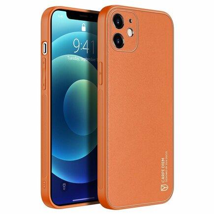 Dux Ducis Yolo elegantní pouzdro z eko kůže iPhone 12 oranžové