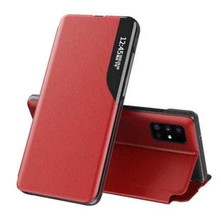 Eco Leather View Case elegantní pouzdro s klapkou a funkcí podstavce Huawei P40 červené
