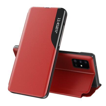 Eco Leather View Case elegantní pouzdro s klapkou a funkcí podstavce Samsung Galaxy A71 červené