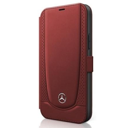 Mercedes Perforated Leather Book Pouzdro pro iPhone 12 Pro Max 6.7 červené