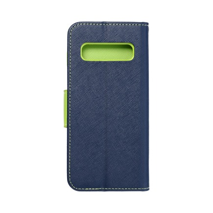 Pouzdro Fancy Book Samsung S10 tmavě modré/limetkové